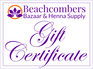 Gift certificate for henna products