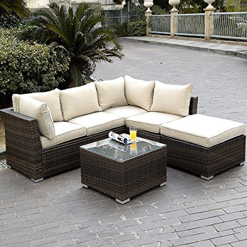 outdoor wicker patio furniture sectional sofa set Giantex 4PC Outdoor Wicker Sectional Sofa Set