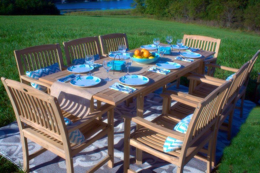 grade a teak wood 9 pc patio dining set