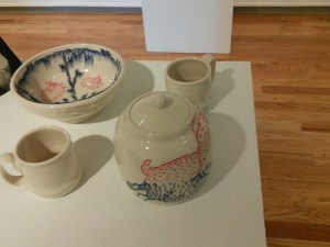 """Rabbit jar"", ""Musk Ox cup"", ""Bird bowl"", ""Minogame cup"" by Ayumi Horie"