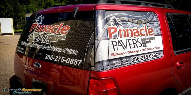 Pinnacle Pavers : Window Perf and Vinyl Lettering