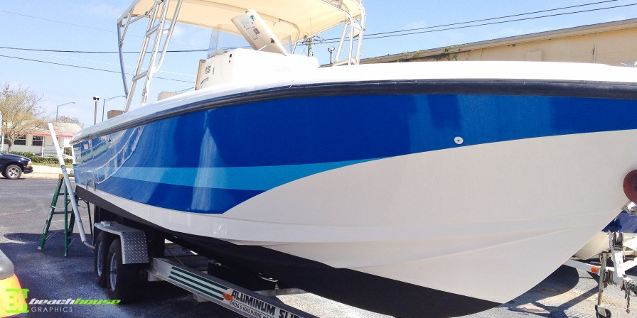 Blue Boat Wrap with Stripe - Ormond Beach FL