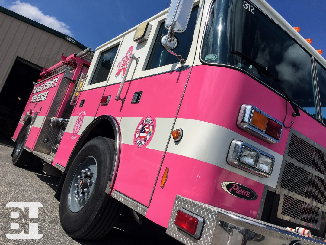 Supporting Breast Cancer Fire Truck Wrap Central Florida, Flagler County
