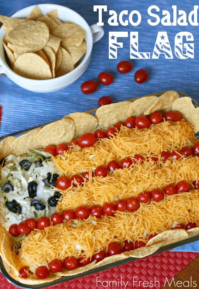 4th of July Appetizers - Taco Salad Flag