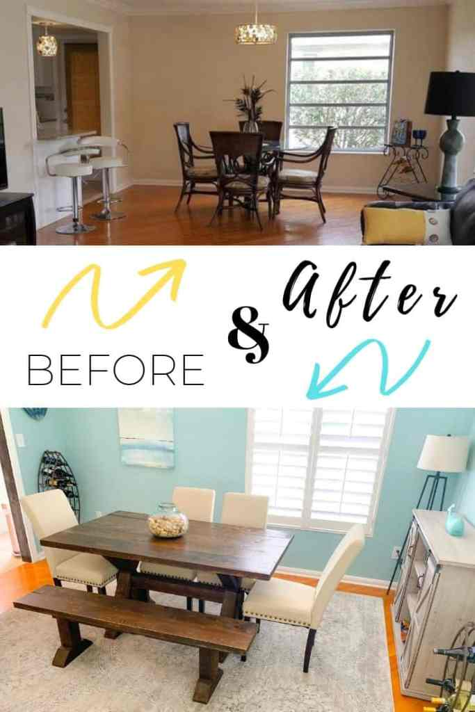 How To Create A Beach Style Dining Room - Coastal Blues Dining Room Before & After