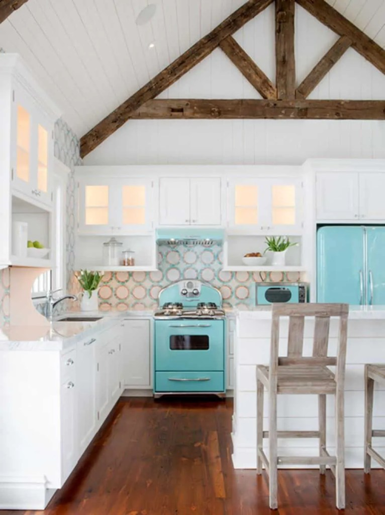 Beach House Kitchen Ideas - Turquoise Kitchen With Wood Beams - Beach House Kitchens - Coastal Style Decor & Design