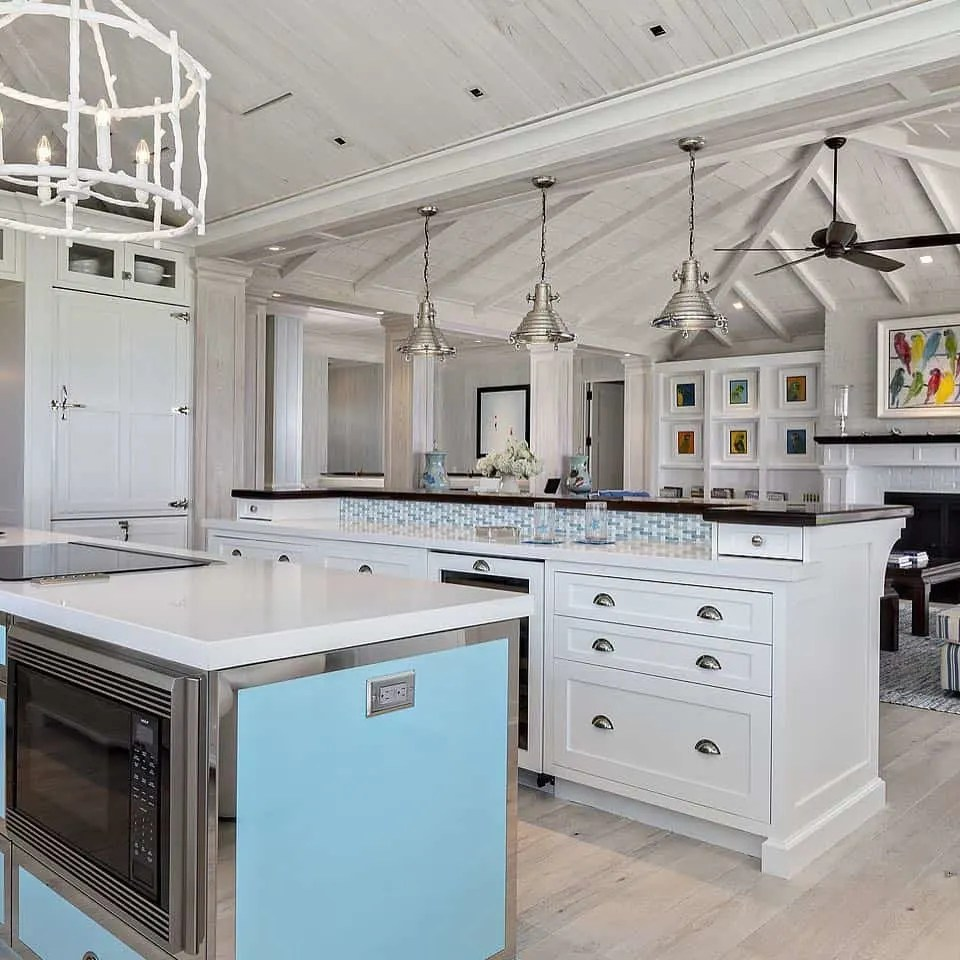 Blue White Black Kitchen - Beach House Kitchens - Coastal Style Decor & Design