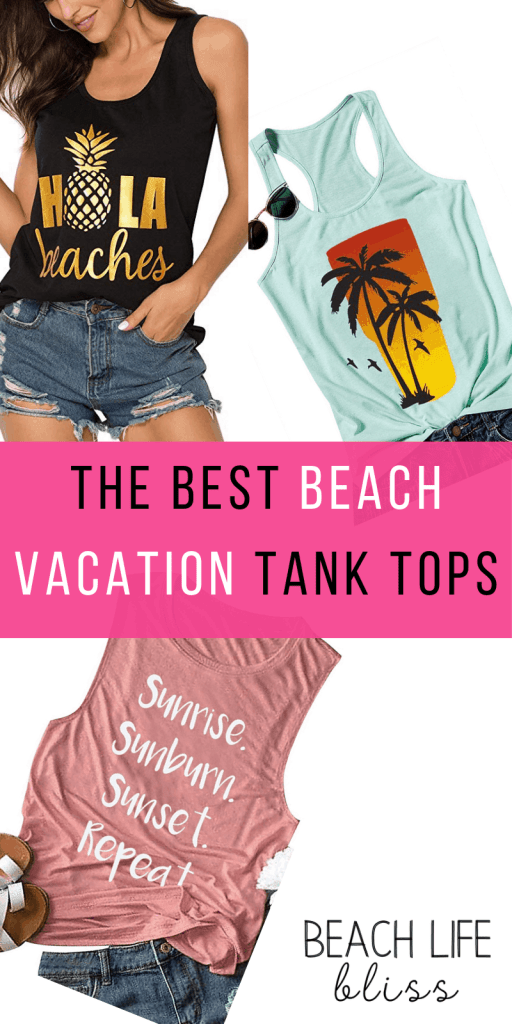 Best Beach Vacation Tank Tops For Women - Hola Beaches, Vacay Mode, Sunrise Sunburn Sunset Repeat, Palm Trees