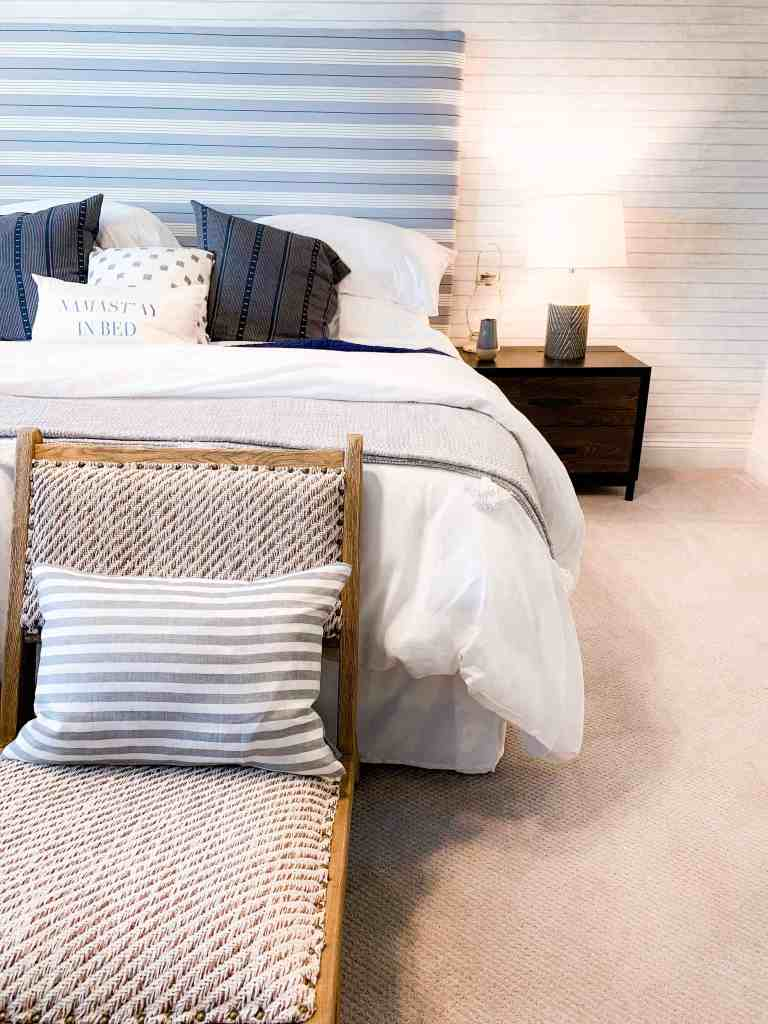 Beach Walk House Tour - Coastal Chic Design and Decor Ideas - blue stripe design in bedroom