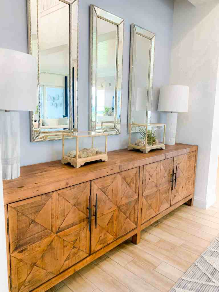 Beach Walk House Tour - Coastal Chic Design and Decor Ideas - glass decor on sideboard
