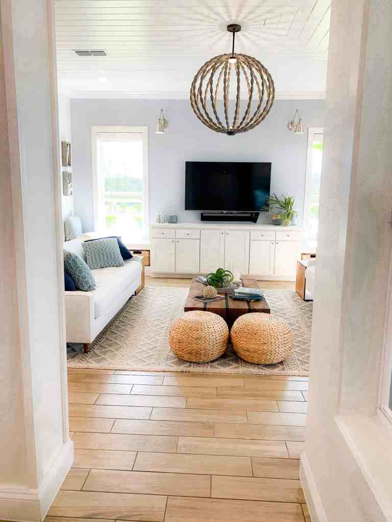 Beach Walk House Tour - Coastal Chic Design and Decor Ideas - White neutral living room