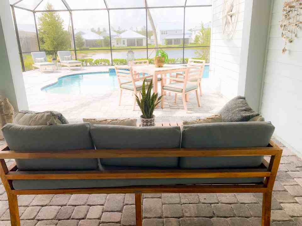 Beach Walk House Tour - Coastal Chic Design and Decor Ideas - Outdoor pool area
