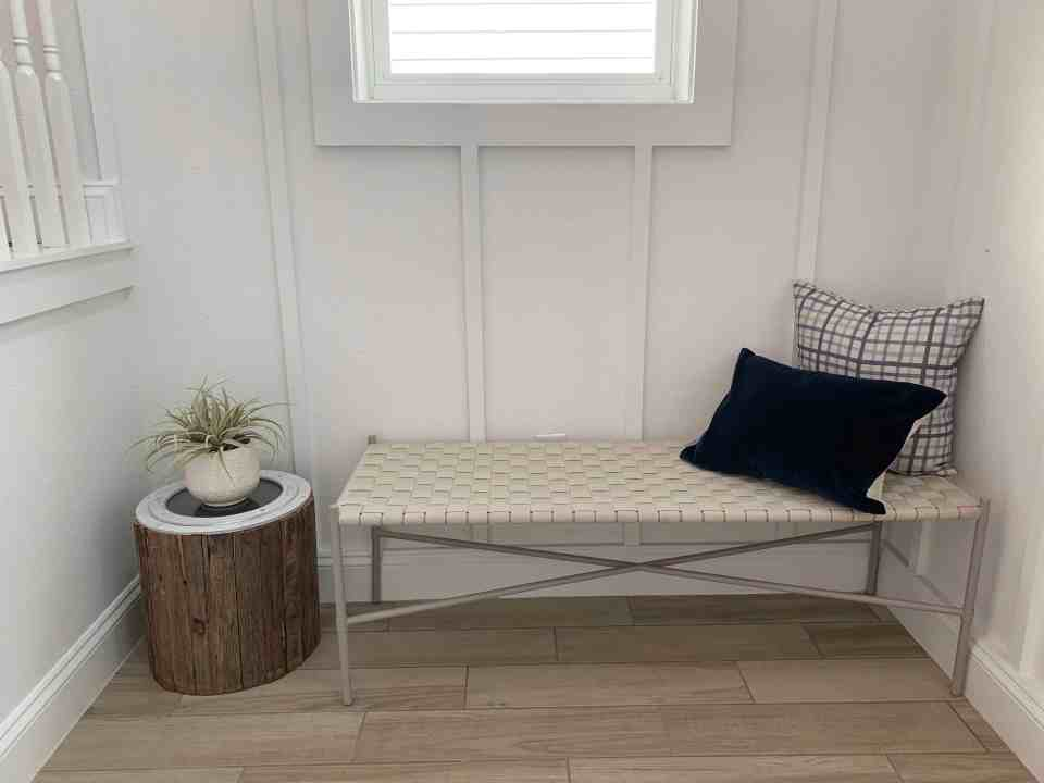Beach Walk House Tour - Coastal Chic Design and Decor Ideas - simple entryway bench