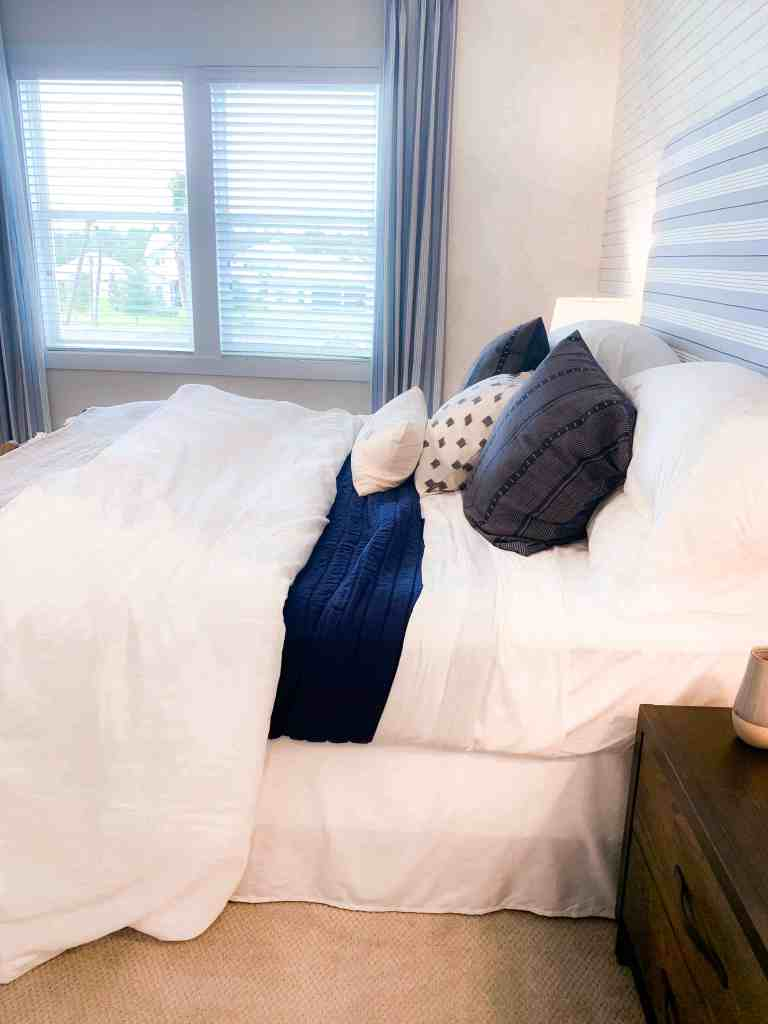 Beach Walk House Tour - Coastal Chic Design and Decor Ideas - navy blue stripes bedroom