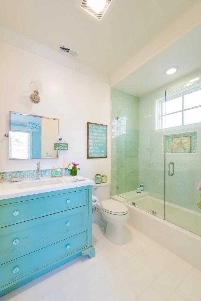Blue Coastal Dream | Beach House Decor Ideas | Turquoise bathroom vanity