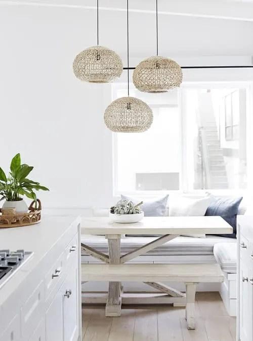 Upscale Coastal Bungalow - Airy Beach House Design - Eat in Kitchen Decor Ideas