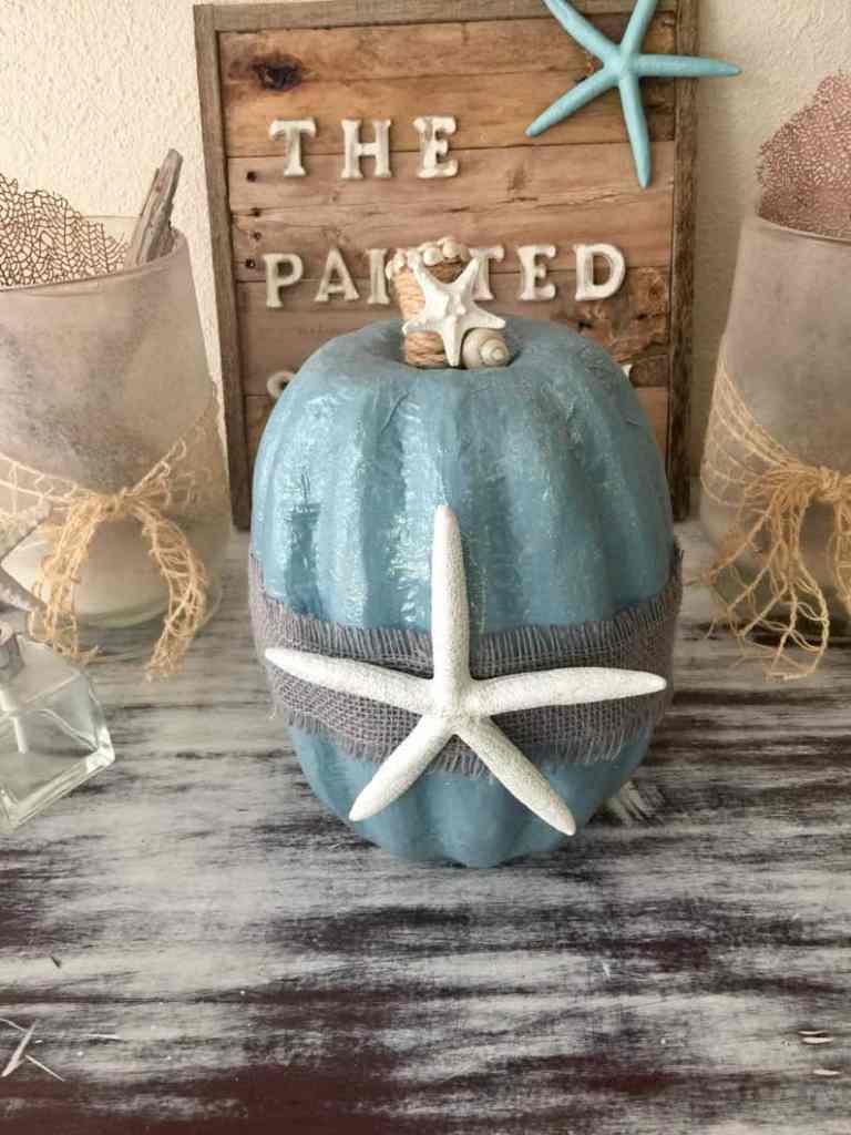 Coastal Thanksgiving Decor Ideas - Blue Pumpkin With Starfish