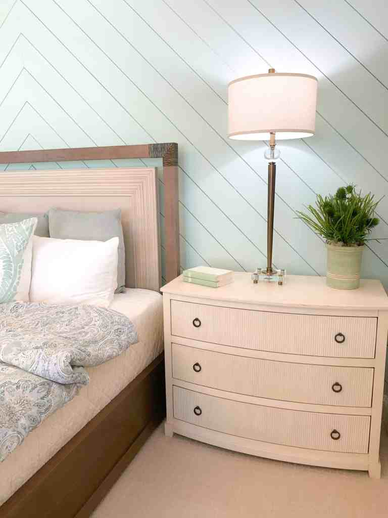 Cream bedside end tables  - Seafoam Green Airy Bedroom Design
