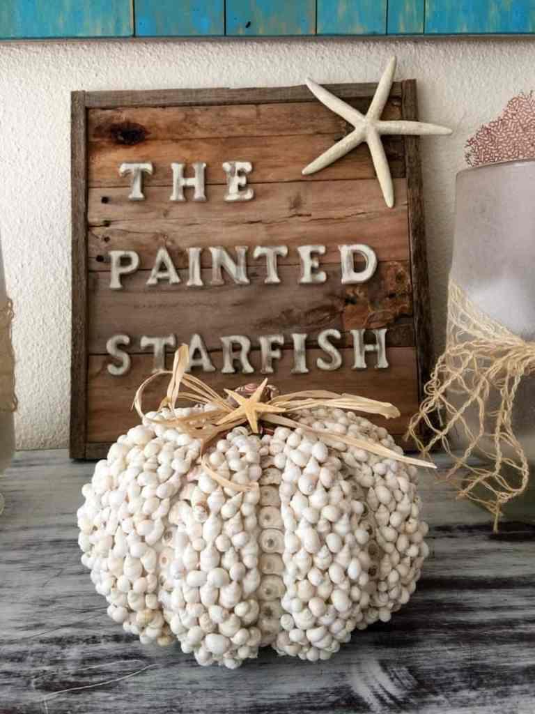 Coastal Thanksgiving Decor Ideas - Seashell Pumpkin