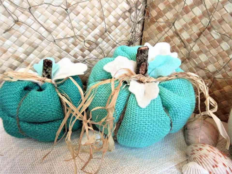 Coastal Thanksgiving Decor Ideas - Turquoise Burlap Pumpkins