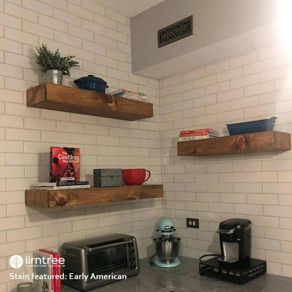 Kitchen Organization With Floating Shelves.  Functional and Cute