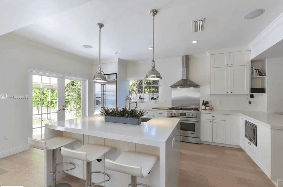 Modern White Kitchen Design with high end appliances and vent hood