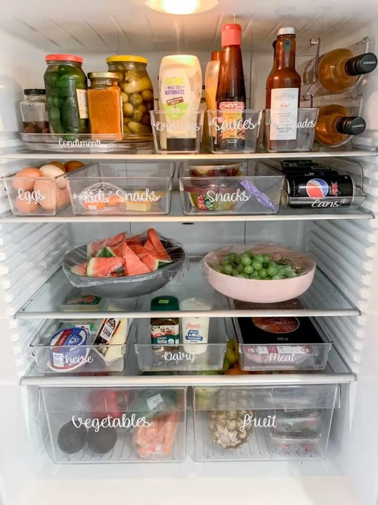 Organized Fridge  With Clear Bins and Labels