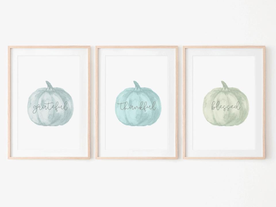 Set of pumpkin prints - Grateful, Thankful, Blessed - Thanksgiving Fall Decor Prints