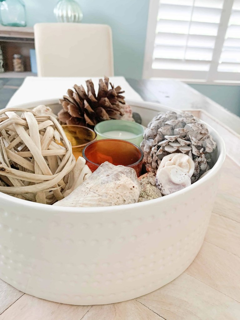 Neutral Thanksgiving Table Centerpiece With A Coastal Flare