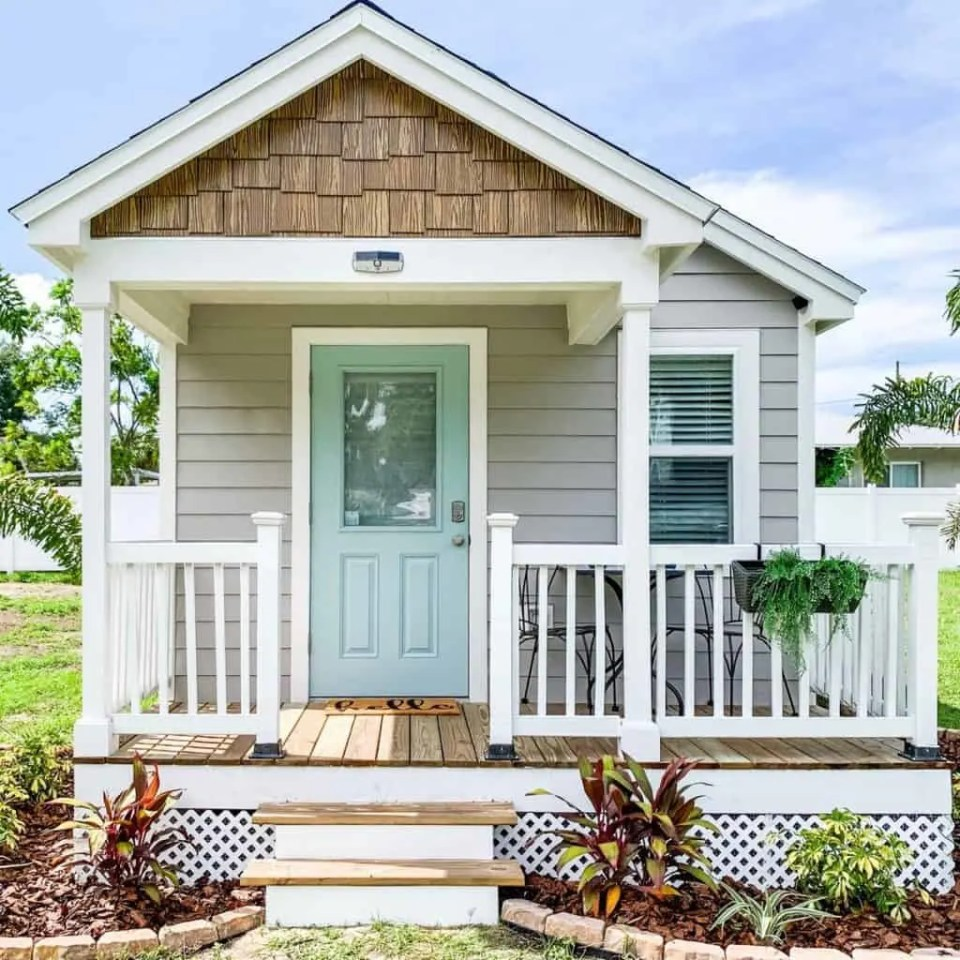 Gray and Mint Green Tiny House Exterior