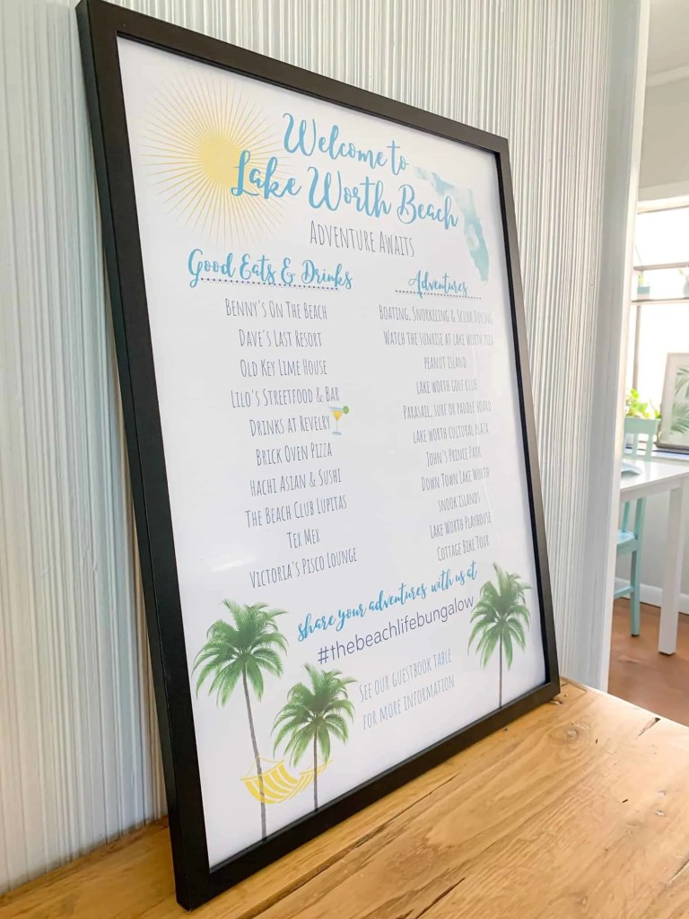 Welcome Poster With Local Activities - AirBnb Decor Tricks To Wow Your Guests