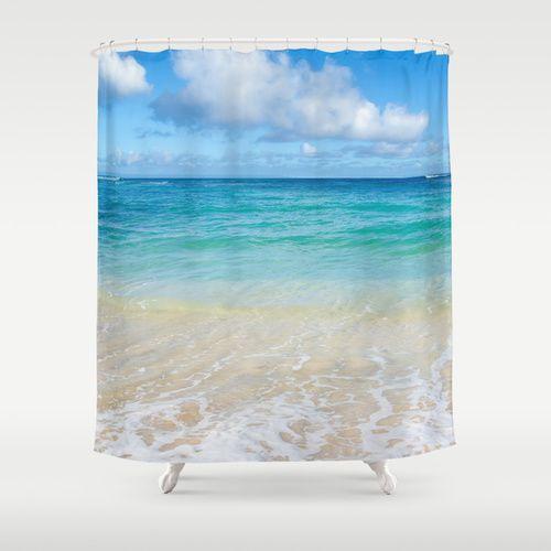 beach shower curtain with hawaiian ocean view 71x74 inches