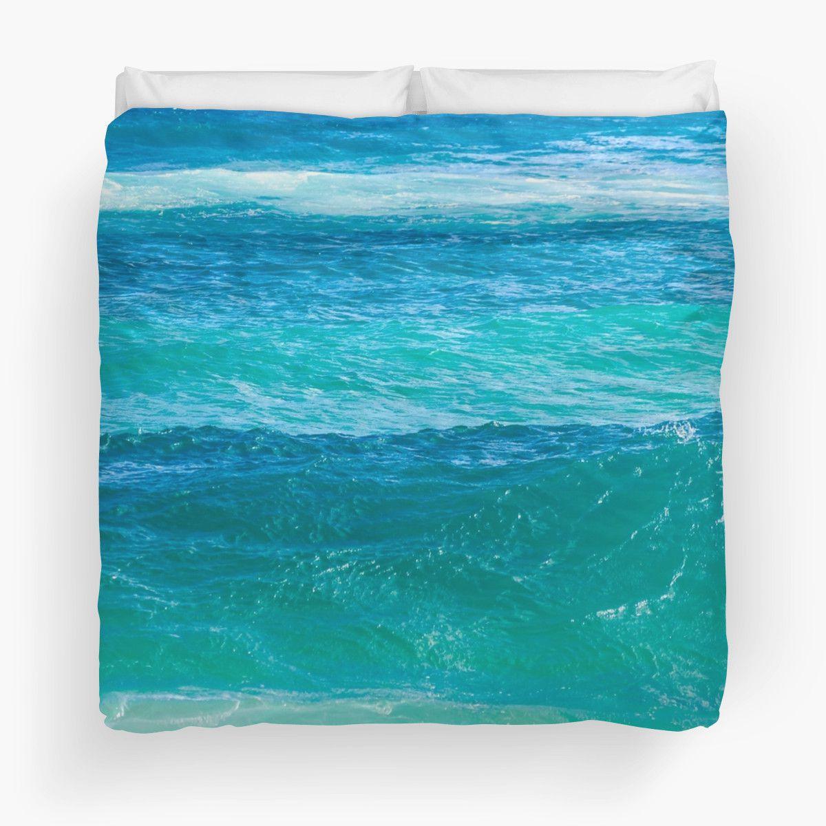 Deep Teal Ocean Water Duvet Cover