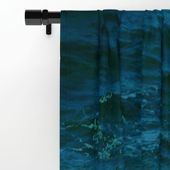 Turquoise White Ocean Water Window Curtain Blackout Curtain Sheer Curtain Coastal Curtain