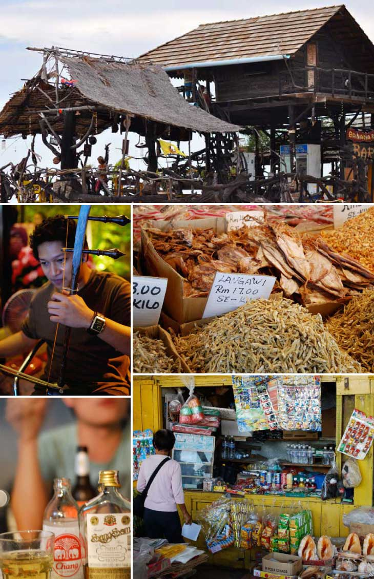 Collage showing local life in Southeast Asia with a quirky restaurant, dried seafood on sale at the market, a small street shop selling snacks, local nightlife with SangSom and soda, and local musician playing traditional instrument.