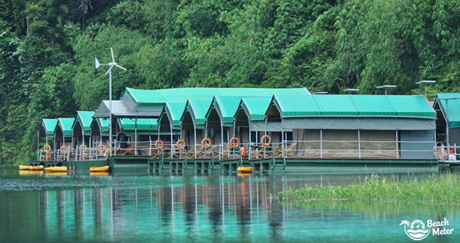 Elephant Hills' Jungle Lake Houses on the Chao Larn Lake in Khaosok National Park Thailand. Image by Beachmeter.com.