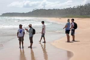 Beach inspection on Pantai Pasir Merah (Red Sand Beach) on Nias Island, Indonesia
