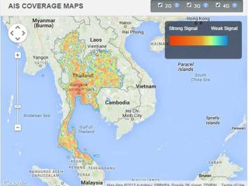 AIS (12Call) mobile phone coverage in Thailand