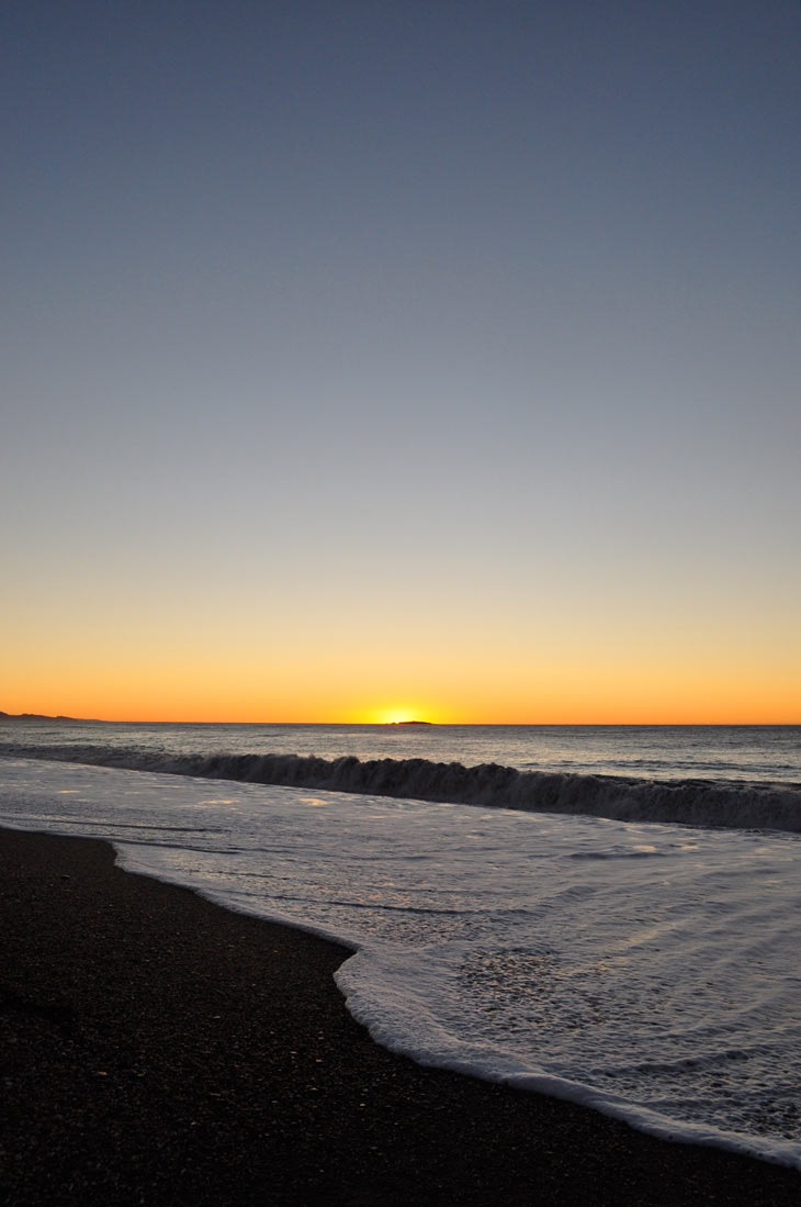 Stunning sunset at Haast Beach on the west-coast of New Zealand