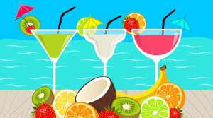 Animation of three summer and beach cocktails with tropical fruits in front of the blue sea.