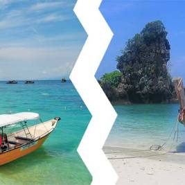 Malaysia or Thailand? Malaysian beach with a boat with the Malaysia's flag and a Thai beach with longtail boats and Thailand's flag