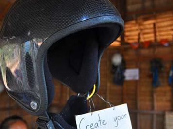 Helmet with GoPro camera
