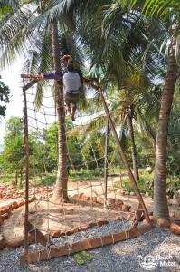 Zipline finish in rope net in Kampot, Cambodia