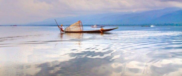 Fishing canoe Myanmar scenary