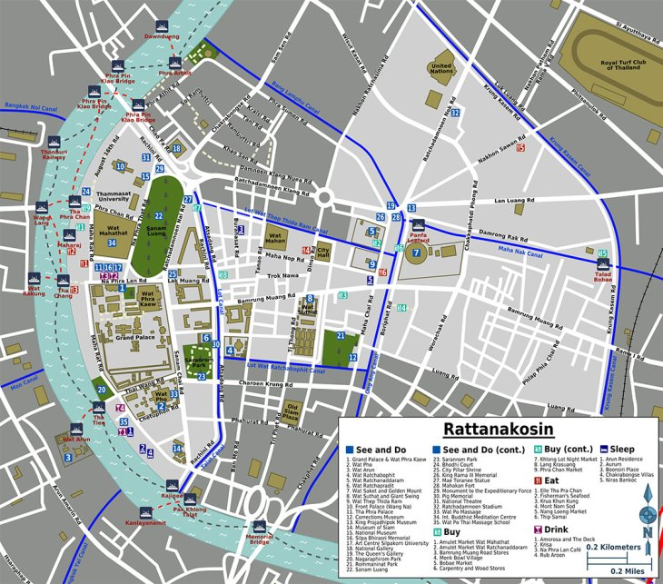 Rattanakosin tourist map, Bangkok