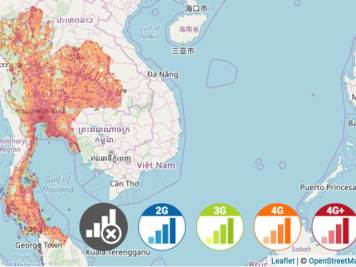 Thailand celluar phone coverage map from DTAC