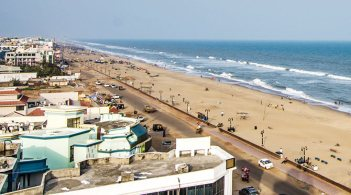 Overview of Puri Beach in Odisha, India
