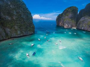 boats in Thai bay from drone view