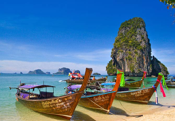 Thai longtail boats at the shore