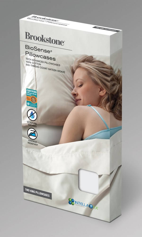 Brookstone pillowcase & sheets packaging design